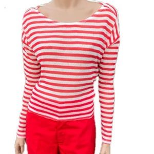 Divided H&M Sheer Striped Long Sleeve Cropped Top